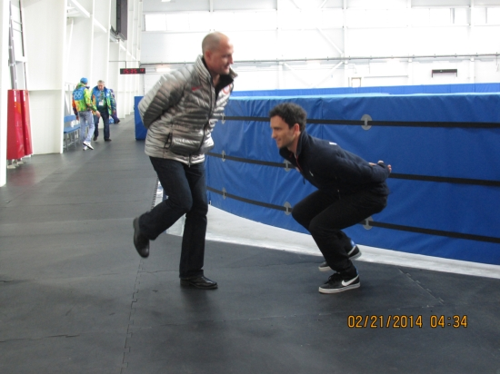 Teaching Jeremy Bloom to skate